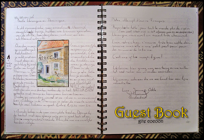 The guestbook of Gite Cocoon